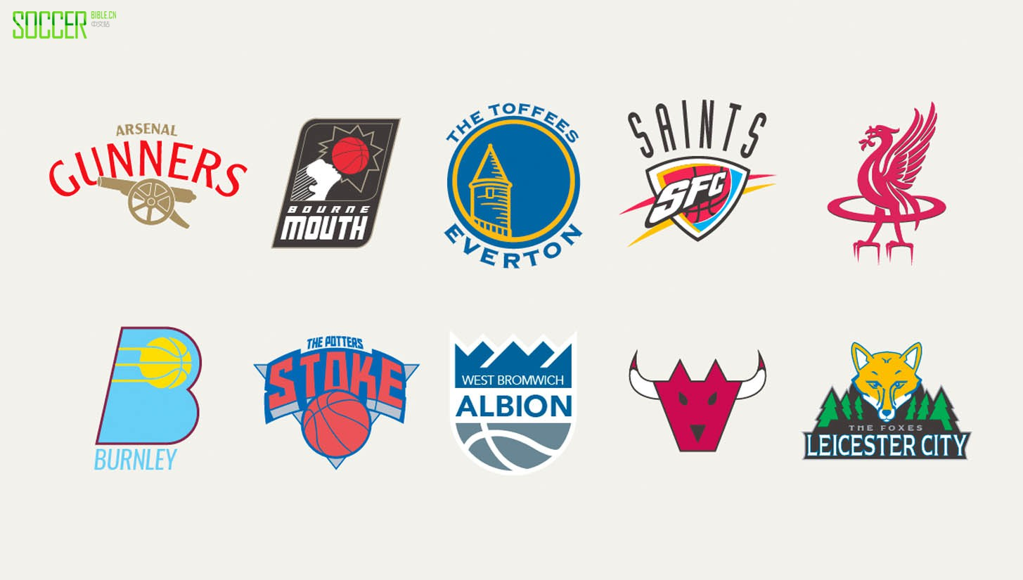 Premier League Badges Blended with NBA teams by Liam Heath : Art and Illustration : Soccer Bible