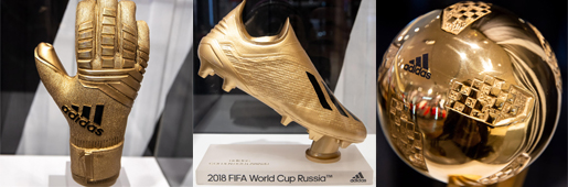 阿迪达斯展示2018世界杯金靴、金球、金手套奖