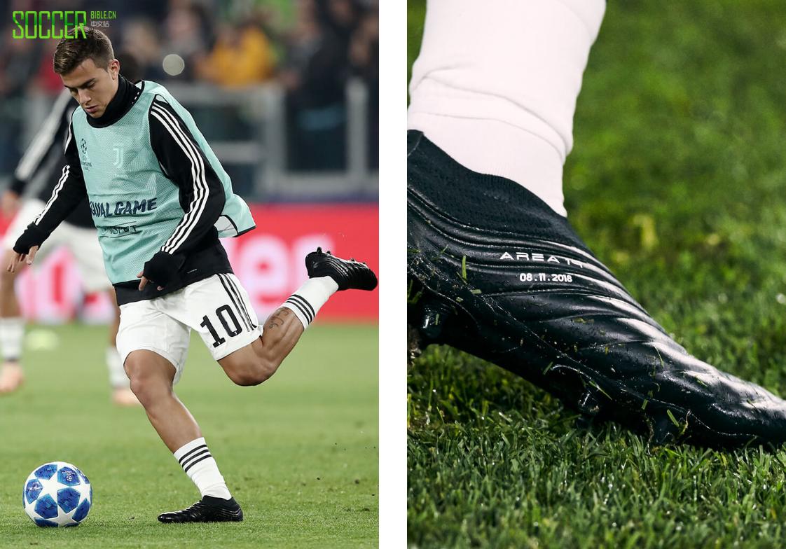 迪巴拉在欧冠联赛中穿着涂黑伪装的阿迪达斯Copa 19+足球鞋