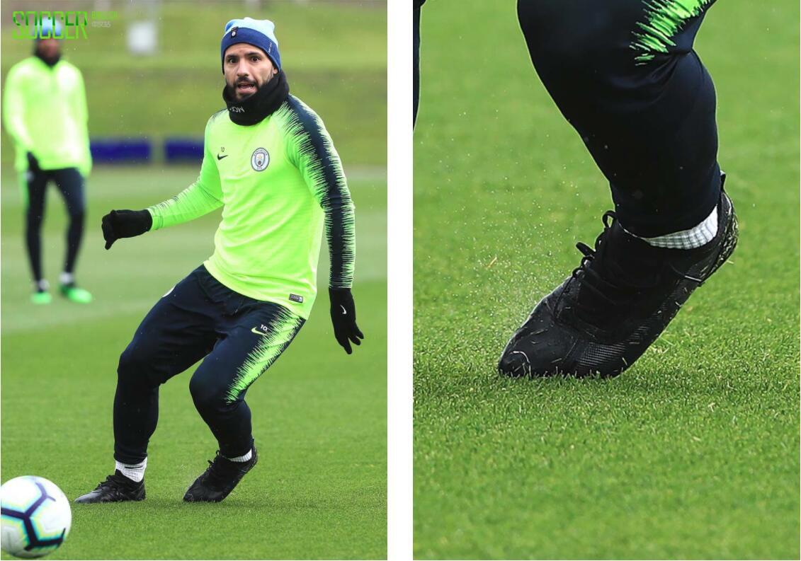 阿圭罗和席尔瓦训练中上脚下一代PUMA ONE测试鞋