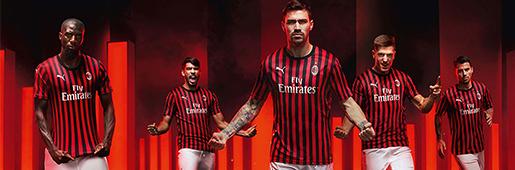 彪马推出AC米兰1920赛季主场球衣来庆祝红黑军团成立120周年。